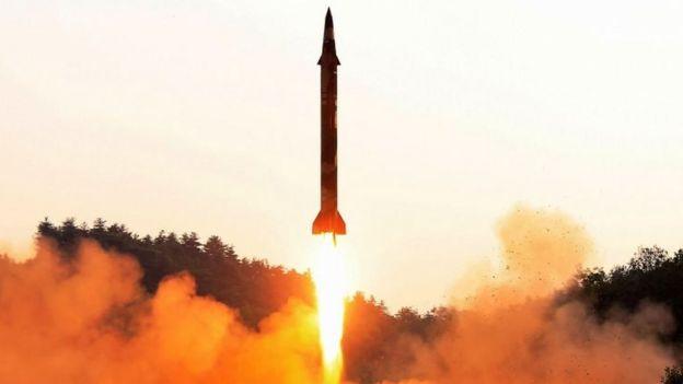 North Korea's missile test. Undated photo