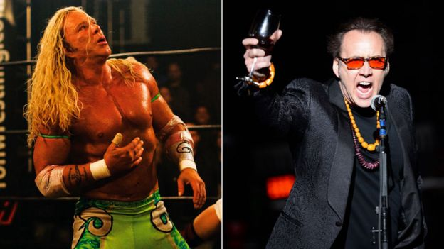 Mickey Rourke in The Wrestler and Nicolas Cage