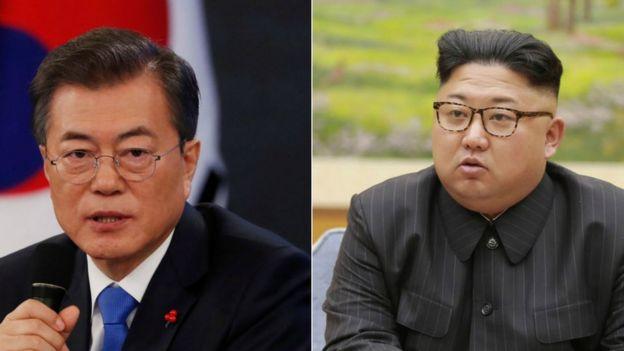 الرئيسان كيم جونغ-اون و مون جاي-إن