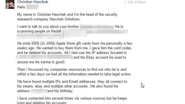 Facebook message to the scammer's bother