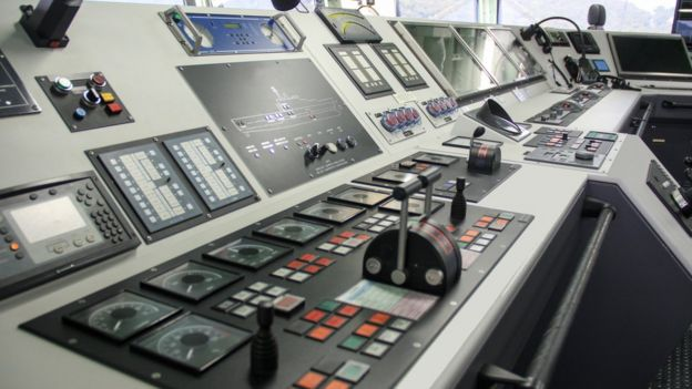 Control room of ship