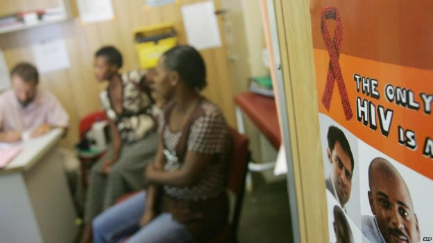 People sit in the waiting room in an anti-retroviral clinic in Emmaus hospital in Winterton, in South Africa's Kwazulu-Natal region on March 11, 2008.