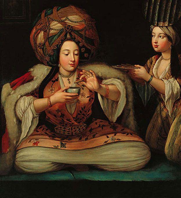 """""""Disfrutando café"""", pintura de autor desconocido que está en el Museo Pera en Turquía."""
