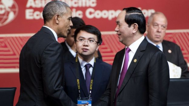 Obama meets Tran Dai Quang at APEC summit in Peru 2016