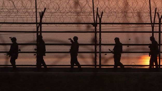 Frontera entre Corea del Sur y del Norte.