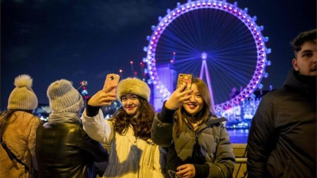 Women taking selfies in front of London Eye