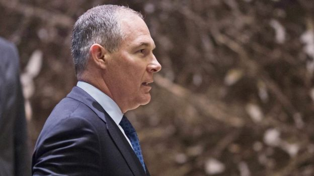 Scott Pruitt arrives at Trump Tower in Manhattan, New York, on 7 December 2016