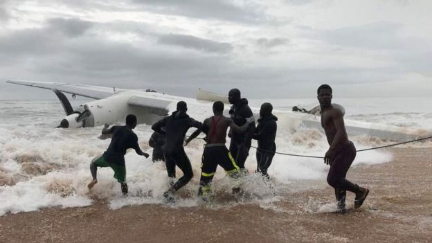 Ivory Coast crash: Four die when cargo plane plunges into sea
