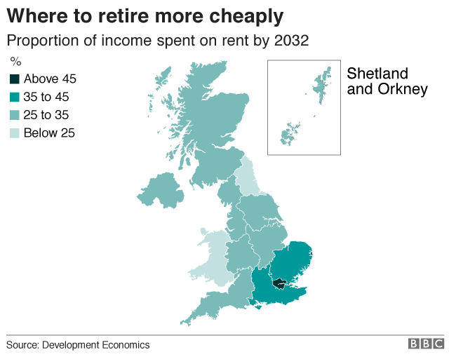 Map of the cheapest areas to retire to.