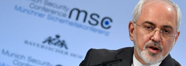 Iranian Foreign Minister Mohammad Javad Zarif gives a speech during the Munich security conference on Sunday