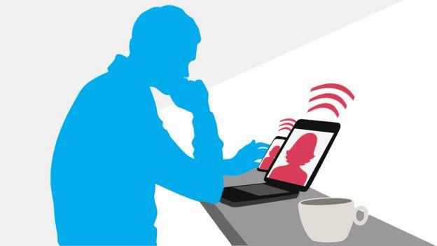 Ilustración de un hombre mirando un celular y tableta. (Imagen: iStock/BBC)