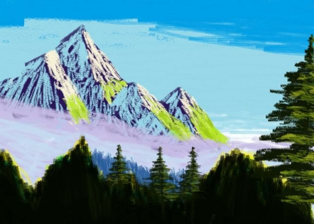 Mountain scene done in Paint by Valprine