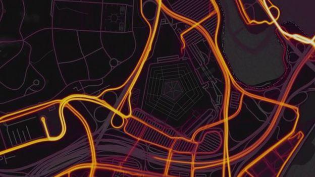 El mapa no muestra datos del interior del Pentágono. (Foto: Strava).