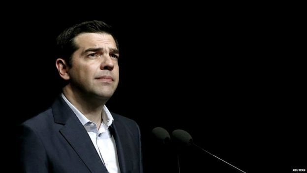 Greek Prime Minister Alexis Tsipras looks on during a speech in Athens, Greece - 18 May 2015