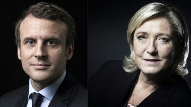 Emmanuel Macron and Marine Le Pen, 23 Apr 17 combo image