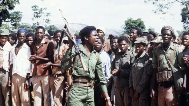 A picture taken on February 6, 1980 shows members of the black nationalist guerrillas of the Zimbabwean African Liberation Army (Zala), led by Robert Mugabe, staging a rally in an unknown place in Zimbabwe.