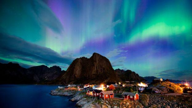 Aurora boreal verde.