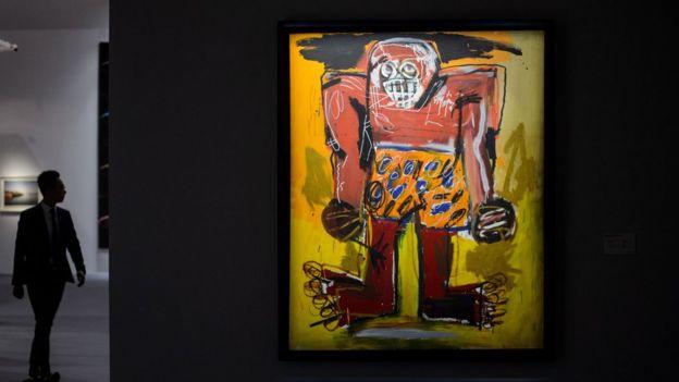 Exposición de obra de Basquiat en Hong Kong en 2016.