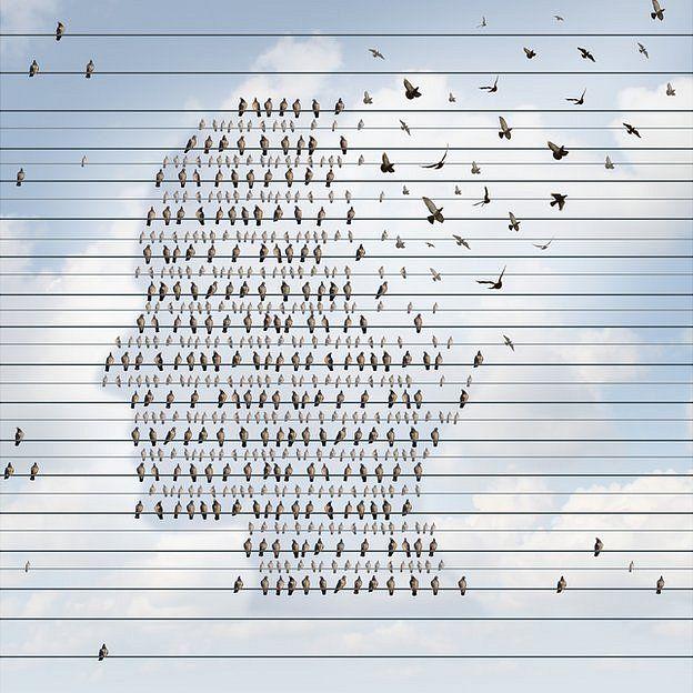 Ilustração de uma cabeça formada por pássaros