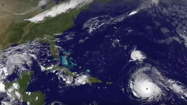 Imagem de satélite registrada no dia 5 de setembro de 2017 mostra o furacão ganhando força no Caribe