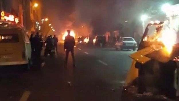 People protest in Tehran, Iran December 30, 2017 in this still image from a video