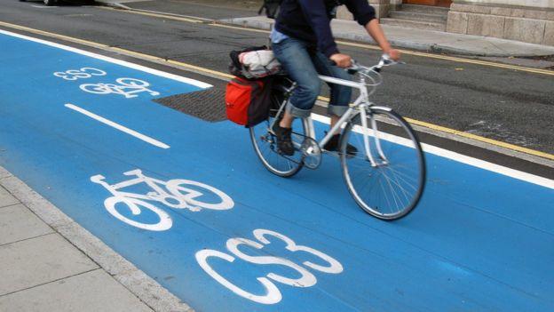 Blue cycle Superhighways in London