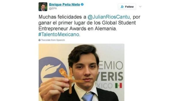 Tuíte do presidente Enrique Peña Nieto