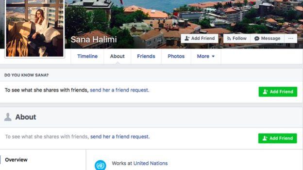 A screenshot of Sana Halimi's Facebook profile