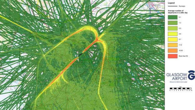 Glasgow Airport flight paths