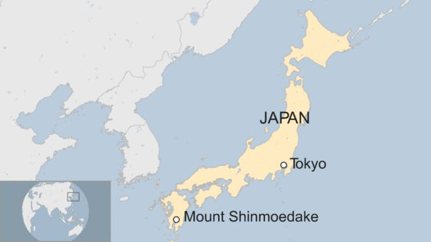 map of Mount Shinmoedake at far end of Japan from Tokyo