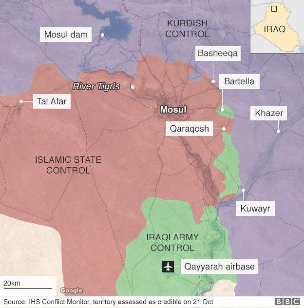 Irak ve Kürdistan topraklarını Musul ve çevresinde kazanımlarını gösteren harita