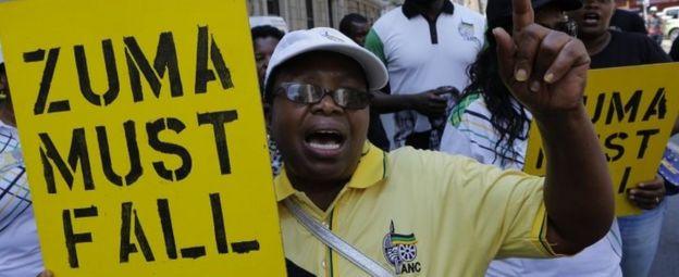 ANC members in Johannesburg call for President Jacob Zuma to resign. Photo: 5 February 2018