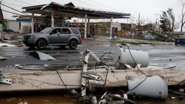 Damaged electrical installations after the area was hit by Hurricane Maria in Guayama, Puerto Rico, September 20, 2017