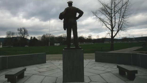 A statue of Gen Douglas MacArthur overlooks a plaza at the United States Military Academy at West Point (file picture)