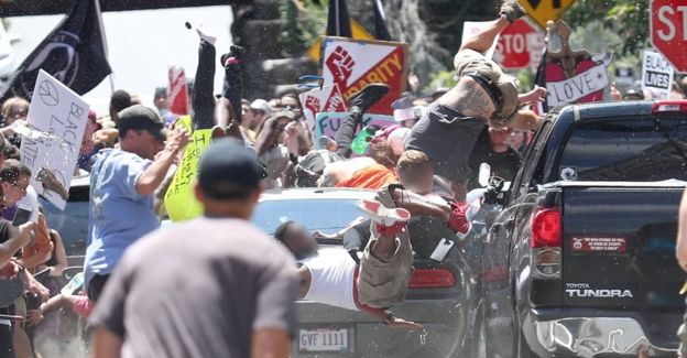 A picture showing people thrown into the air as a car rammed into anti-white power protesters