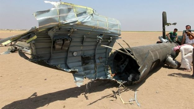 Remains of Russian helicopter shot down in northern Syria, 1 August 2016