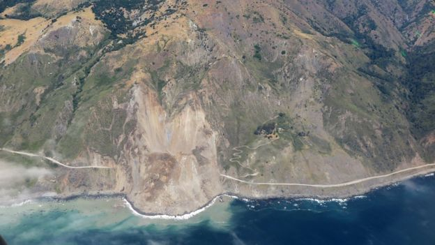 California Highway 1 covered by a landslide