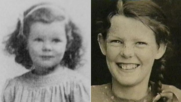Two portrait photos of Anthea when she was a child