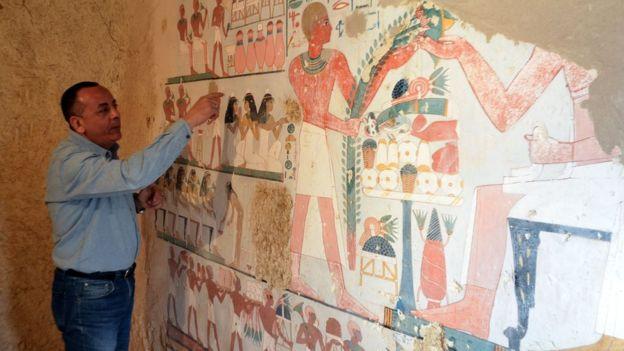 Mustafa al-Waziri, Director General of Luxor's Antiquities, inside the tomb