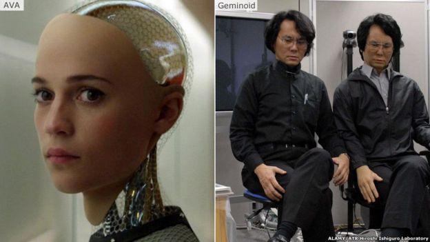 科幻片 Ex-Machina里的機器人女主角埃娃,現實世界裡日本機器人專家石黑浩跟以自己為原型製作的仿真機器人