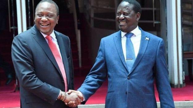Rais Uhuru Kenyatta na kiongozi wa upinzani nchini Kenya Raila Odinga