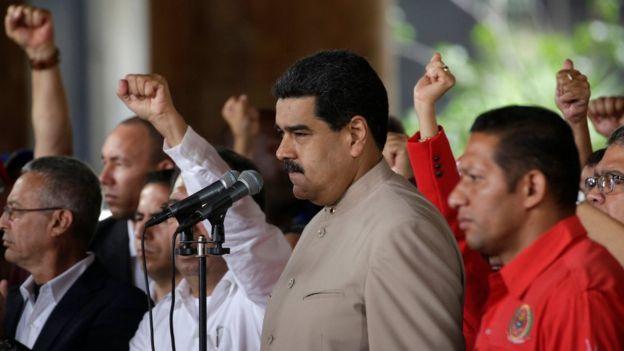 Nicolás Maduro en una concentración popular.