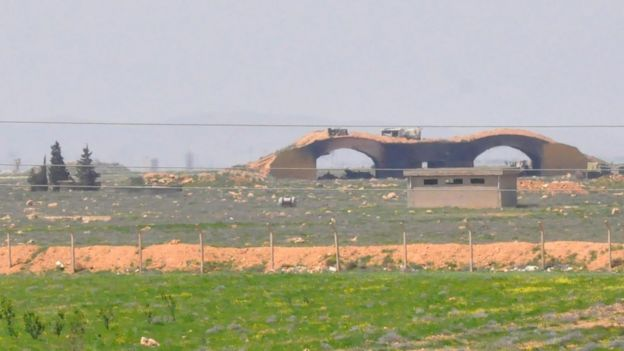 A damaged building at Shayrat airfield, Syria, 7 April