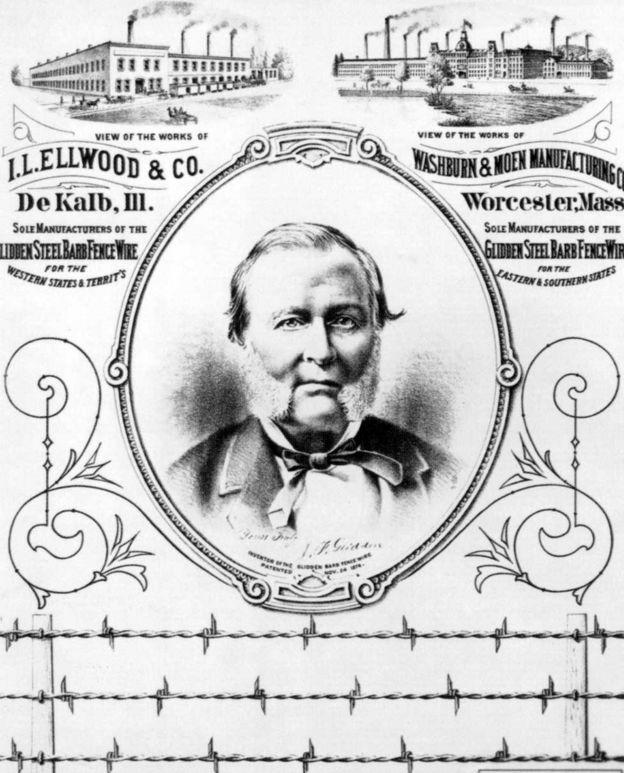 كان ابتكار جوزيف غليدين للسلك الشائك سببا في جمعه ثروة طائلة.