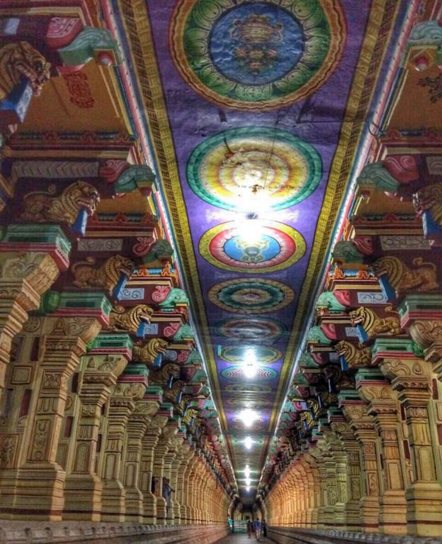 "The ""hall of a thousand pillars"" in the temple of Rameswaram.  Photo by Vidya Nair"
