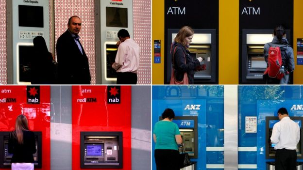 Composite image of customers using deposit machines from Australia's major banks