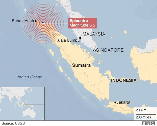 Map of Indonesia showing the earthquake's epicentre