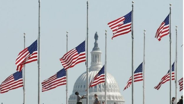 Flags flown at half-mast in the US following the Las Vegas mass shooting on 1 October 2017