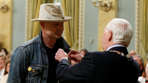Gord Downie is awarded the Order of Canada by Governor General David Johnston at Rideau Hall in Ottawa in June 2017
