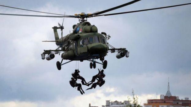 Helicóptero usado em treinamento